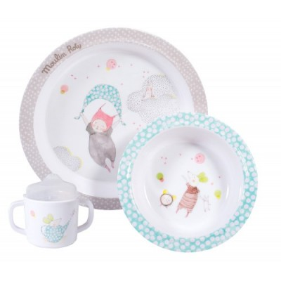 Baby-Safe Melamine Set Including Plate, Bowl And Cup With Sipper