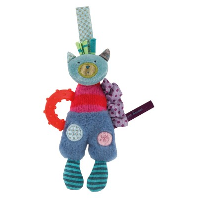 Moulin Roty Les Jolis Pas Beaux Cat Hanging Teether Rattle 16cm
