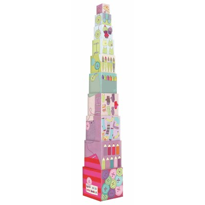 Moulin Roty Les Jolis Pas Beaux Stack-Up High Cardboard Cubes Tower 15.5x15.5cm