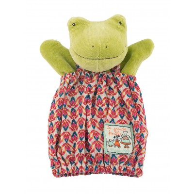 Moulin Roty La Grande Famille Hand Puppet - Perlette the Frog 25cm