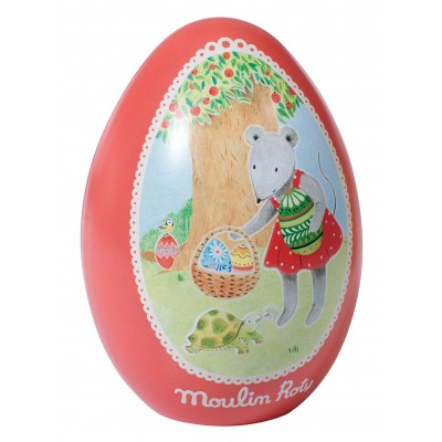 Moulin Roty La Grande Famille Tin Egg Red - Nini the Mouse 13.5x9.5cm
