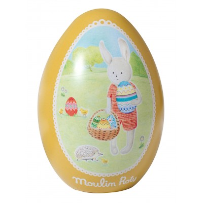 Moulin Roty La Grande Famille Tin Egg Yellow - Sylvain the Rabbit 13.5x9.5cm