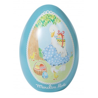 Moulin Roty La Grande Famille Tin Egg Blue - Jeanne the Goose 13.5x9.5cm