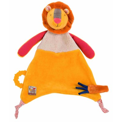 Moulin Roty Les Papoum Lion Comforter with Pacifier Holder 24cm