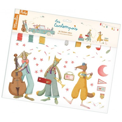 Removable Decorative Child Room Wall Stickers - 40X34Cm, Car And 3 Musicians Theme