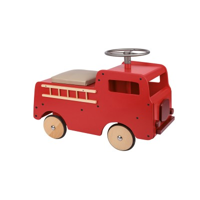 Red Beech Wood Fire Truck Baby Stroller