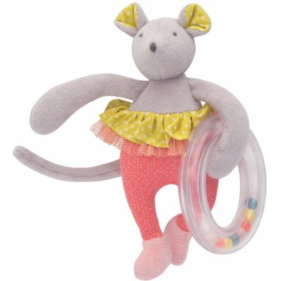 Moulin Roty Mademoiselle et Ribambelle Baby Ballerina Mouse with Ring Rattle 17cm