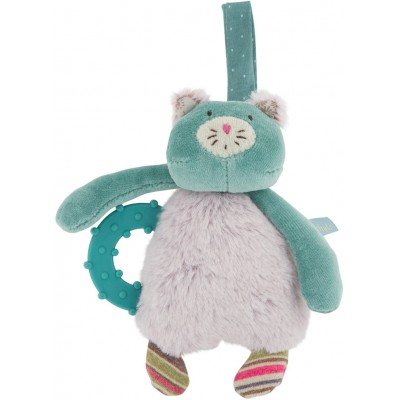Moulin Roty Les Pachats Cat Rattle with Teething Ring 16cm