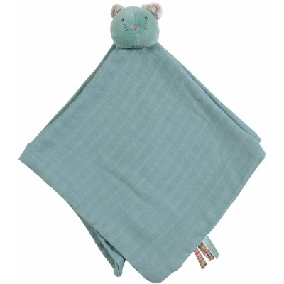 Moulin Roty Les Pachats Blue Muslin Cat Doudou 47x47cm