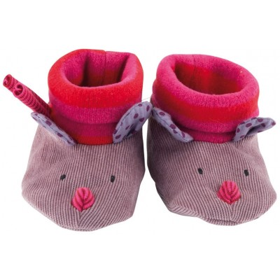 Moulin Roty Les Jolis Pas Beaux Baby Slippers - Corduroy Purple 0-6mos