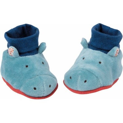 Moulin Roty Les Papoum Hippo Baby Slippers 0-6mos