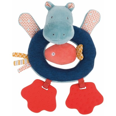 Moulin Roty Les Papoum Hippo Ring Rattle 20cm