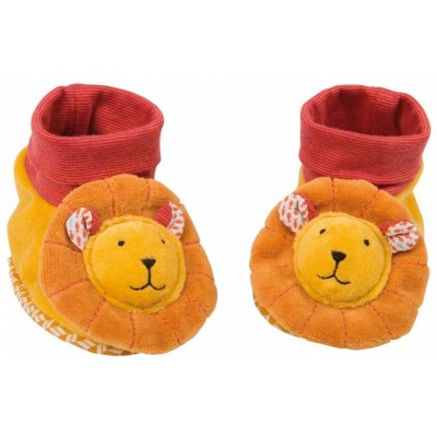 Moulin Roty Les Papoum Lion Baby Slippers 0-6mos