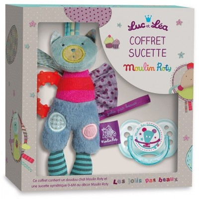 Moulin Roty Les Jolis Pas Beaux Luc & Lea Soother + Comforter Set 20.5x20.5cm