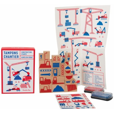Moulin Roty Dans la Ville Set of 23 Construction Site Ink Stamps 14.5x20.5cm