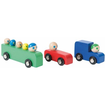 Moulin Roty Dans la Ville Set of Wooden Bus + Truck + Car 25x9x3cm