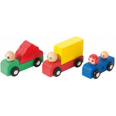 Moulin Roty Dans la Ville Set of Wooden Stack-Up Trucks + Car 25x9x3cm