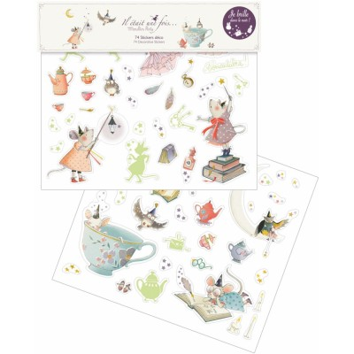 Moulin Roty Il Etait Une Fois Glow-in-the-Dark Wall Stickers 40x34cm (2 Pages)