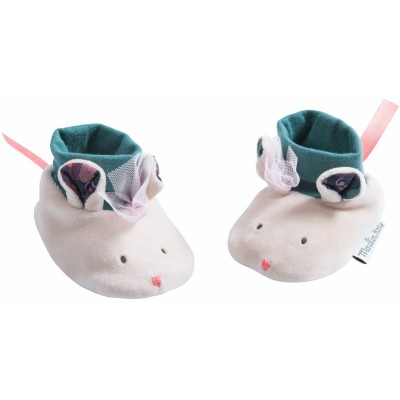 Moulin Roty Il Etait Une Fois Grey Mouse Baby Slippers 0-6mos