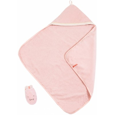 Moulin Roty Il Etait Une Fois Hooded Towel and Mitten Set 80x80cm
