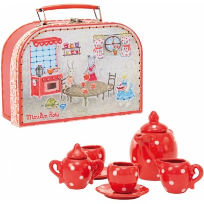 Moulin Roty La Grande Famille Ceramic Tea Set Suitcase 20x14cm