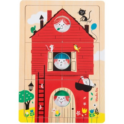Moulin Roty Les Bambins 3-Level Wood House Puzzle 30x21cm