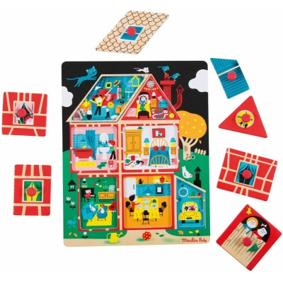 Moulin Roty Les Bambins House Peg Puzzle 29x23cm