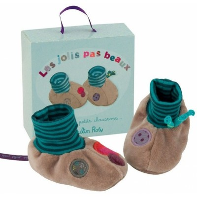 Moulin Roty Les Jolis Pas Beaux Baby Slippers - Green & Brown 0-6mos