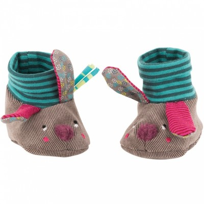 Moulin Roty Les Jolis Pas Beaux Baby Slippers - Rabbit 0-6mos