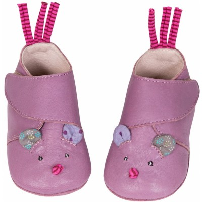 Moulin Roty Les Jolis Pas Beaux Leather Mouse Slippers 12-18 mos