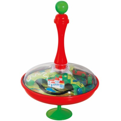 Moulin Roty Les Jouets Metal Large Spinning Top - Car Race 18x27cm
