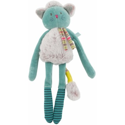 Moulin Roty Les Pachats Cat Rattle Blue 28cm