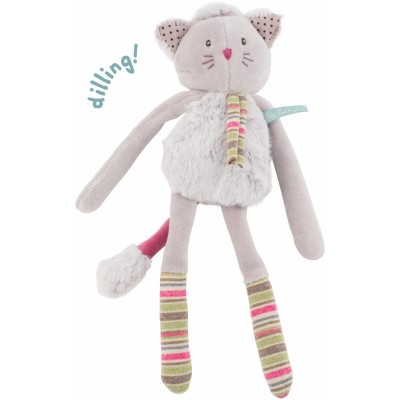Moulin Roty Les Pachats Cat Rattle Grey 28cm