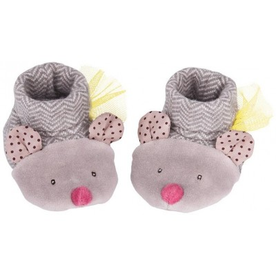 Moulin Roty Les Pachats Grey Mouse Baby Slippers 0-6mos