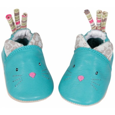 Moulin Roty Les Pachats Leather Cat Slippers 12-18 mos