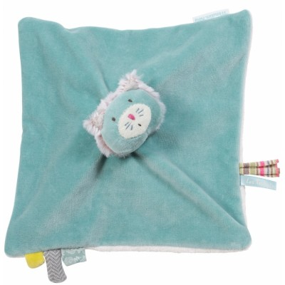 Moulin Roty Les Pachats Square Blue Cat Comforter 23cm