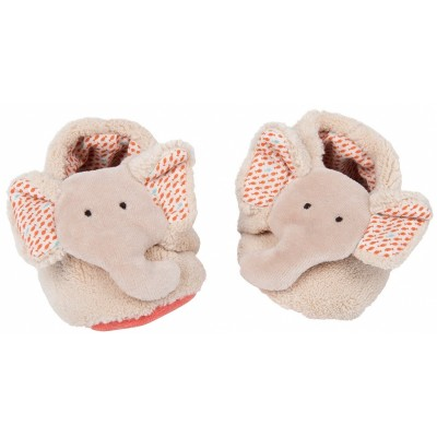 Moulin Roty Les Papoum Elephant Baby Slippers 0-6mos