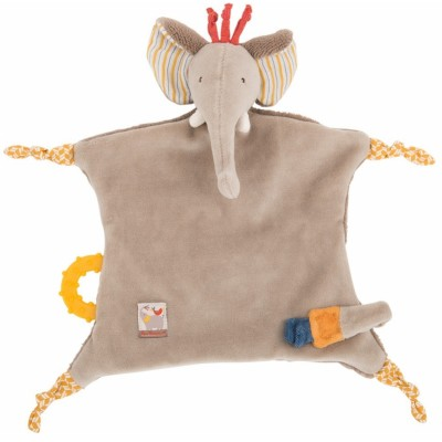 Moulin Roty Les Papoum Elephant Comforter with Pacifier Holder 24cm