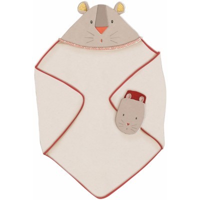Moulin Roty Les Papoum Hooded Towel and Mitt 80x80cm