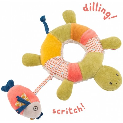 Moulin Roty Les Papoum Turtle Ring Rattle 20cm