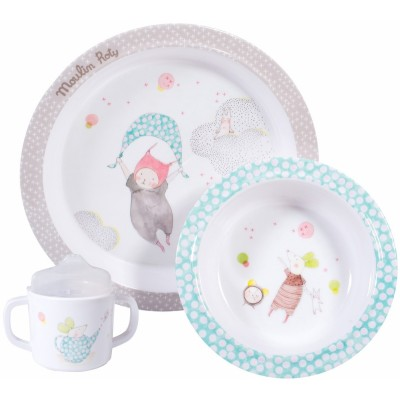 Moulin Roty Les Petits Dodos Melamine Set incl. Plate, Bowl, Cup with Sipper