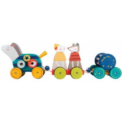 Moulin Roty Les Zig et Zag Pull Along Activity Horse 39x8x14cm