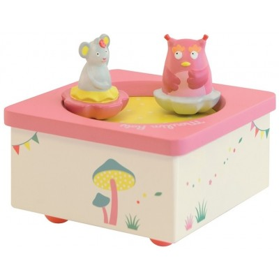 Moulin Roty Mademoiselle et Ribambelle Owl & Mouse Music Box 12x12cm