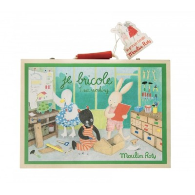Moulin Roty La Grande Famille Wooden Tools Suitcase 28x20.5cm