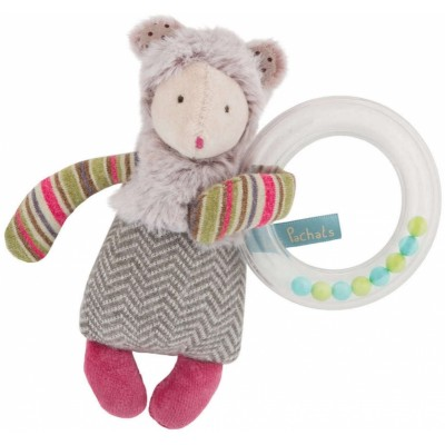 Moulin Roty Les Pachats Mouse Beads Rattle 16cm