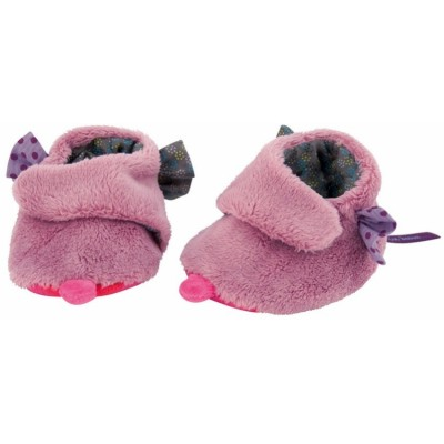 Moulin Roty Les Jolis Pas Beaux Baby Slippers - Pink Violet 0-6mos