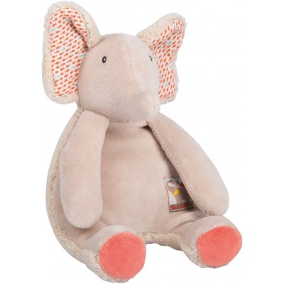 Moulin Roty Les Papoum Plush Elephant Rattle 20cm
