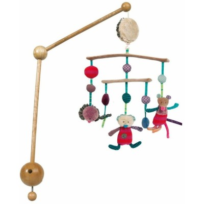 Moulin Roty Les Jolis Pas Beaux Wood & Textile Turning Musical Mobile 55x30cm