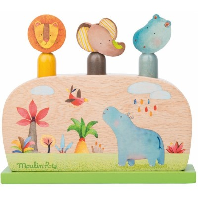 Moulin Roty Les Papoum Wooden Pop-Up Game 17x15cm