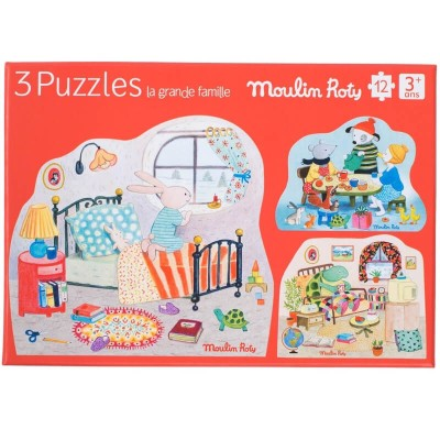 Moulin Roty La Grande Famille Set of 3 Twelve-Piece Puzzles 20x16cm